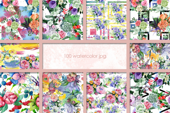 Print on Demand: 100 Watercolor Flower Bouquets Patterns Graphic Illustrations By MyStocks - Image 4