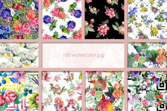 Print on Demand: 100 Watercolor Flower Bouquets Patterns Graphic Illustrations By MyStocks - Image 5