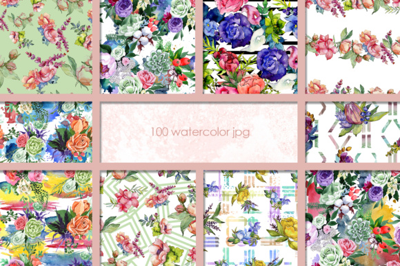 Print on Demand: 100 Watercolor Flower Bouquets Patterns Graphic Illustrations By MyStocks - Image 6