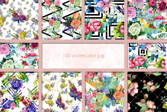 Print on Demand: 100 Watercolor Flower Bouquets Patterns Graphic Illustrations By MyStocks - Image 7