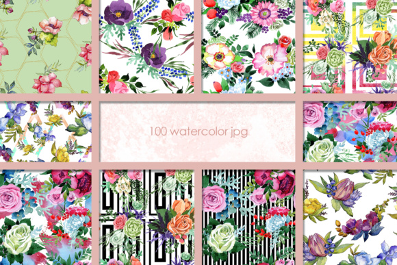 Print on Demand: 100 Watercolor Flower Bouquets Patterns Graphic Illustrations By MyStocks - Image 8