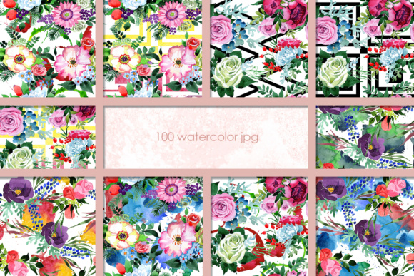 Print on Demand: 100 Watercolor Flower Bouquets Patterns Graphic Illustrations By MyStocks - Image 9