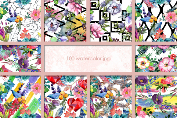 Print on Demand: 100 Watercolor Flower Bouquets Patterns Graphic Illustrations By MyStocks - Image 10