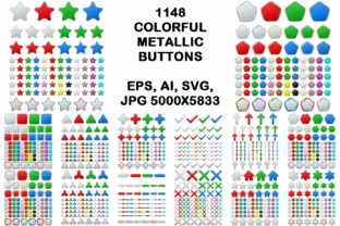 1148 Colored Geometric Metallic Buttons Graphic Web Elements By davidzydd