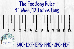 12 Inch Ruler, Foot Graphic Crafts By WispyWillowDesigns