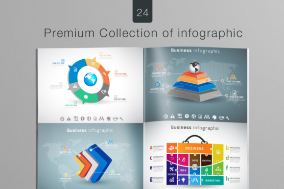 Print on Demand: 24 Premium Collection of Infographics Graphic Infographics By vito12