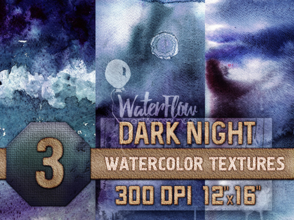 Print on Demand: 3 Dark Night Watercolor Textures Graphic Textures By WaterflowArt