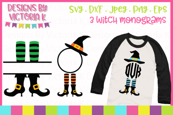 3 Witch Monograms SVG Graphic By Designs By Victoria K Image 1