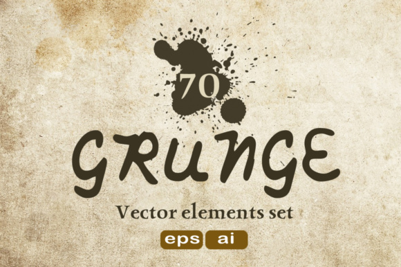 Print on Demand: 70 Grunge Texture - Vector Elements Set Graphic Textures By vito12