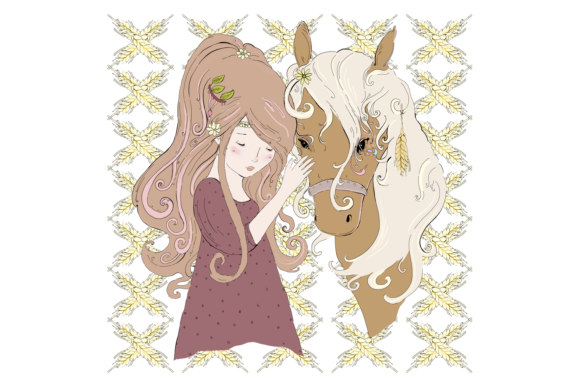A Girl and Her Horse, Clip Art Illustration Graphic By Jen Digital Art Image 2