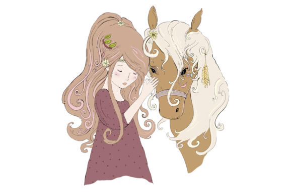 A Girl and Her Horse, Clip Art Illustration Graphic By Jen Digital Art Image 3