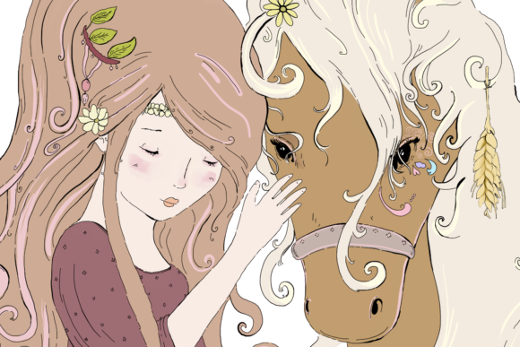 A Girl and Her Horse, Clip Art Illustration Graphic By Jen Digital Art Image 5