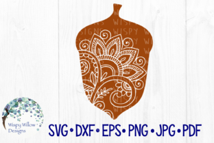 Download Free Acorn Fall Zentangle Craft File Graphic By Wispywillowdesigns for Cricut Explore, Silhouette and other cutting machines.