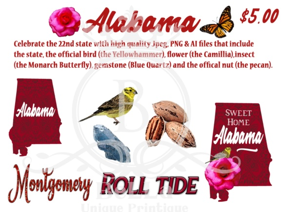 Alabama Graphic Illustrations By BellaUniquePrintique