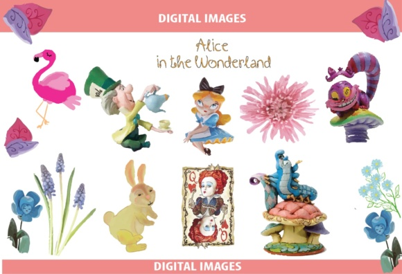Download Free Alice In The Wonderland Clipart Pack Graphic By Nurionart for Cricut Explore, Silhouette and other cutting machines.