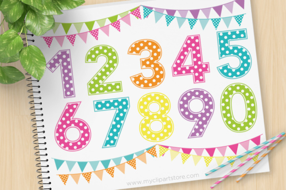 Print on Demand: Alpha Polkadots Numbers Rainbow Graphic Illustrations By MyClipArtStore