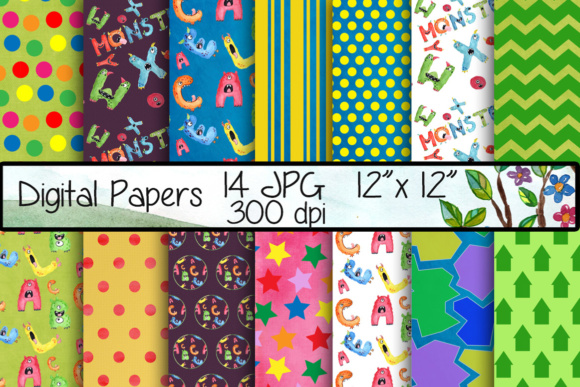 Alphabet Digital Papers Graphic Backgrounds By vivastarkids - Image 1