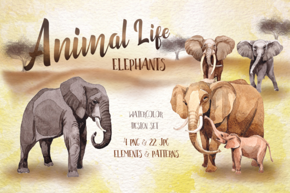 Print on Demand: Animal Life - Watercolor Elephants Set Graphic Illustrations By MyStocks