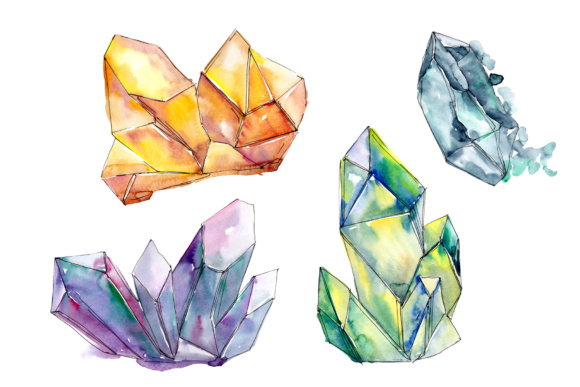 Print on Demand: Aquarelle Colorful Geometric Crystal PNG Set Graphic Illustrations By MyStocks