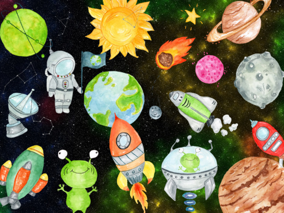 Set with 30 Astronaut Themed Clipart Designs Graphic Illustrations By vivastarkids