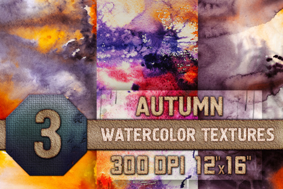Print on Demand: Autumn Halloween Digital Papers Watercolor Fall Texture Graphic Textures By WaterflowArt