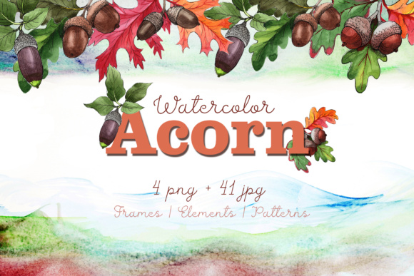 Print on Demand: Autumn Acorn Leaf and Plant PNG Watercolor Set Graphic Illustrations By MyStocks