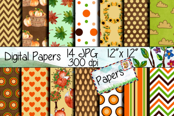 Autumn Digital Paper Pack Graphic Backgrounds By vivastarkids