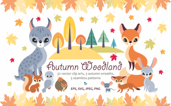 Print on Demand: Autumn Woodland. Vector Animals and Plants. Graphic Illustrations By Olga Belova
