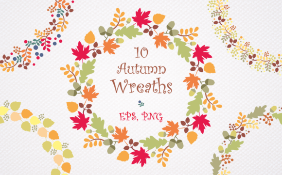 Print on Demand: Autumn Wreaths. Vector Clip Art. Graphic Illustrations By Olga Belova