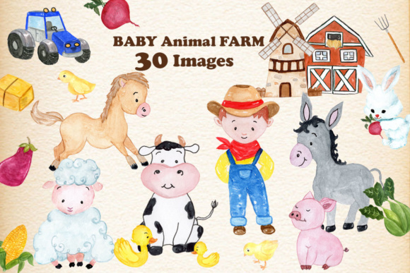 Set with 30 Baby Farm Animals Graphic Illustrations By vivastarkids