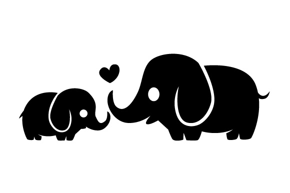 Download Free Baby Elephant With Mother Elephant Svg Cut File By Creative for Cricut Explore, Silhouette and other cutting machines.