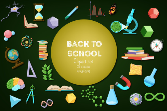 Back to School - Science and Nature Supplies Clipart Set Graphic Illustrations By inkoly.art
