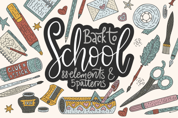 Print on Demand: Back to School. Handdrawn Set. Graphic Illustrations By Red Ink
