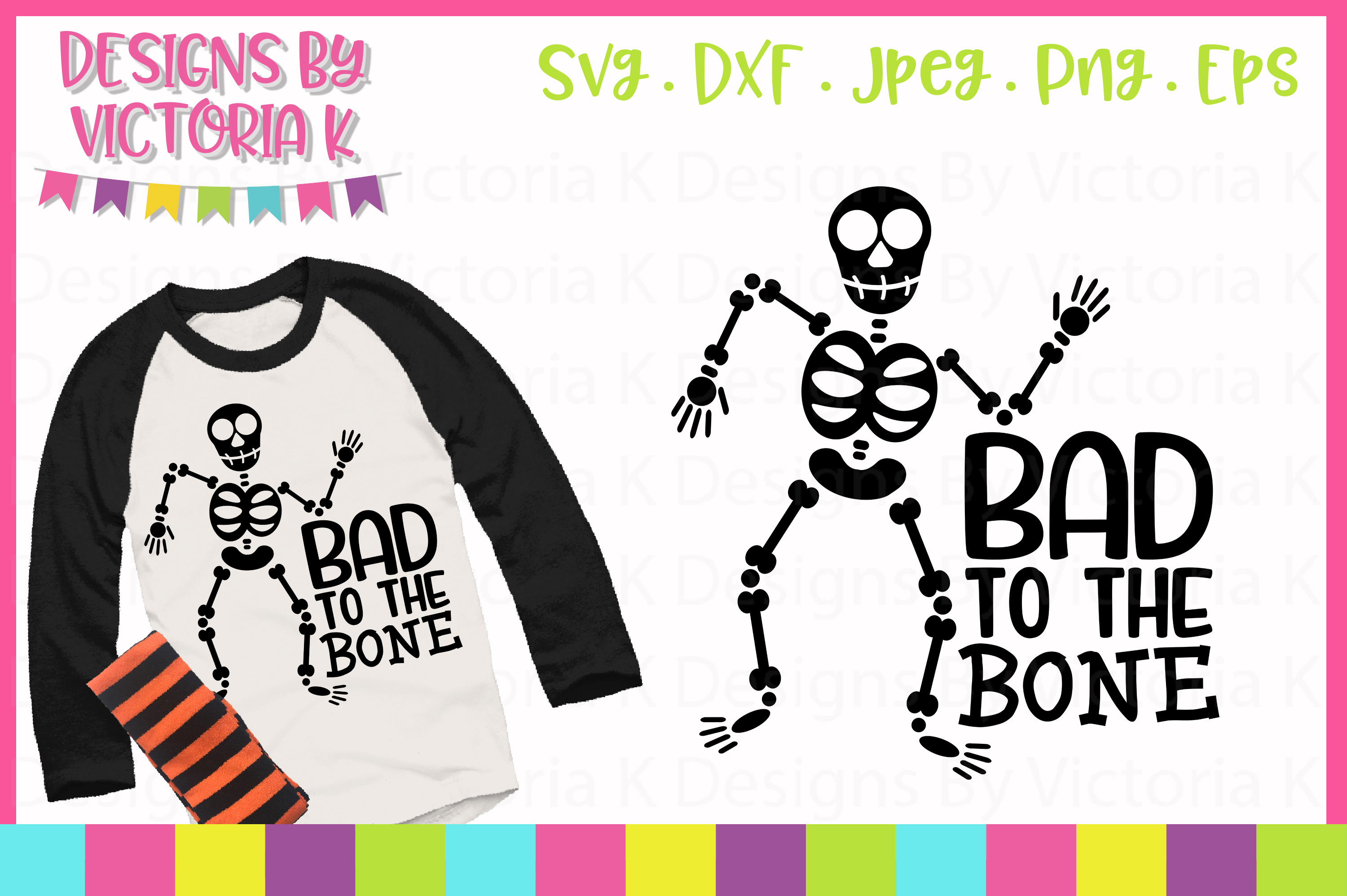 Download Free Bad To The Bone Svg Graphic By Designs By Victoria K Creative for Cricut Explore, Silhouette and other cutting machines.
