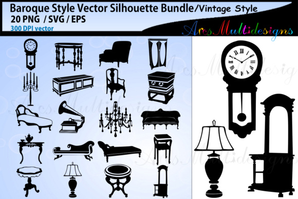 Download Free Baroque Elements And Objects Svg Vector Silhouette Graphic By for Cricut Explore, Silhouette and other cutting machines.