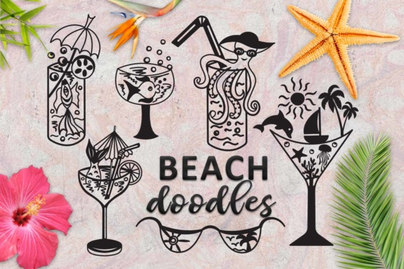 Beach Summer Doodles Graphic Crafts By Cornelia