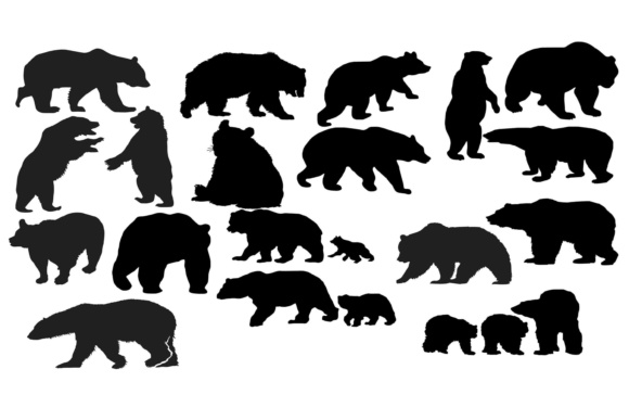 Download Free Bear Silhouette Graphic By Retrowalldecor Creative Fabrica for Cricut Explore, Silhouette and other cutting machines.