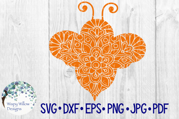 Download Free Bee Floral Mandala Graphic By Wispywillowdesigns Creative Fabrica for Cricut Explore, Silhouette and other cutting machines.