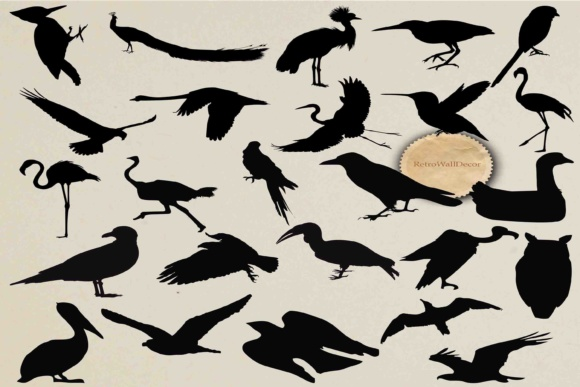 Download Free Birds Silhouette Graphic By Retrowalldecor Creative Fabrica for Cricut Explore, Silhouette and other cutting machines.