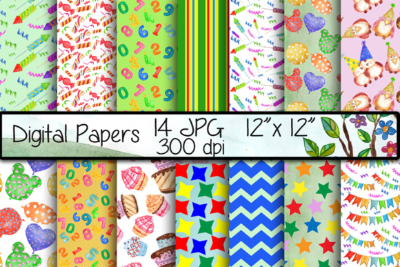 Birthday Digital Paper Graphic Backgrounds By vivastarkids
