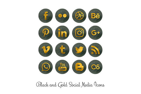 Download Free Black And Gold Social Media Icons Graphic By Anjana Designs for Cricut Explore, Silhouette and other cutting machines.