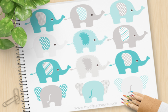 Print on Demand: Blue Grey Elephants Clipart Graphic Illustrations By MyClipArtStore