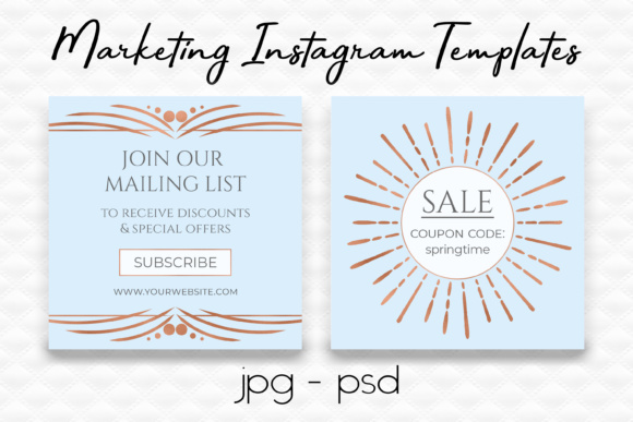 Blue & Rose Gold Sale Instagram Templates