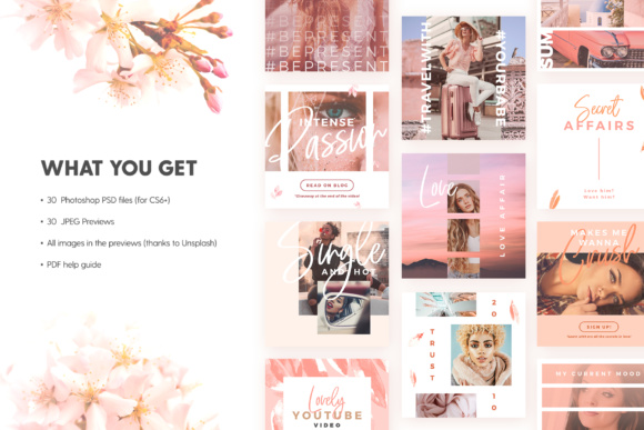 Print on Demand: Blush Emotions - Social Pack Graphic Web Templates By lavie1blonde - Image 2