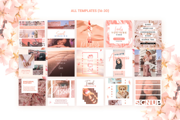 Print on Demand: Blush Emotions - Social Pack Graphic Web Templates By lavie1blonde - Image 4