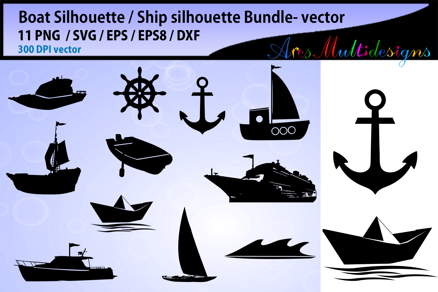 Download Free Boat Silhouette Anchor Graphic By Arcs Multidesigns Creative for Cricut Explore, Silhouette and other cutting machines.