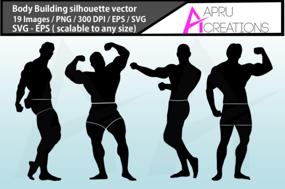 Print on Demand: Bodybuilding Silhouette Graphic Illustrations By aparnastjp - Image 2