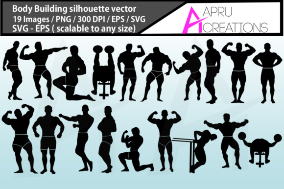Print on Demand: Bodybuilding Silhouette Graphic Illustrations By aparnastjp - Image 1