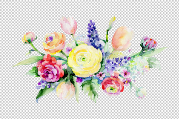 Print on Demand: Bouquet Summer Flowers Watercolor Set Graphic Illustrations By MyStocks