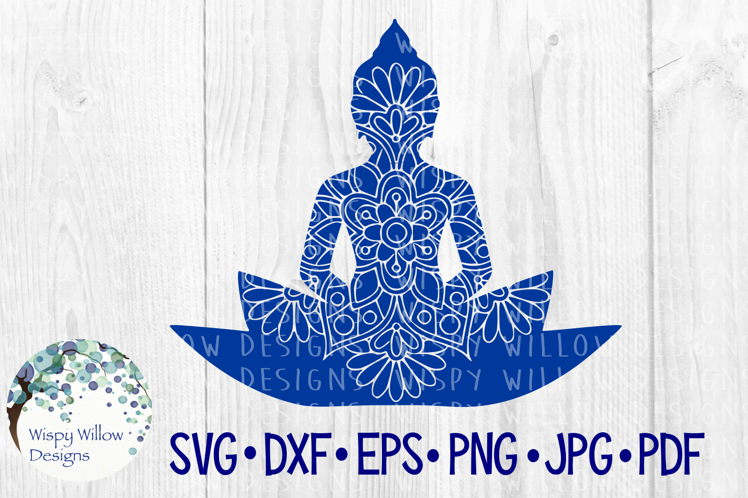 Download Free Buddha Floral Mandala Graphic By Wispywillowdesigns Creative for Cricut Explore, Silhouette and other cutting machines.